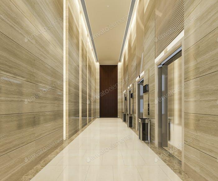 modern steel elevator lift lobby in business hotel with luxury design near corridor