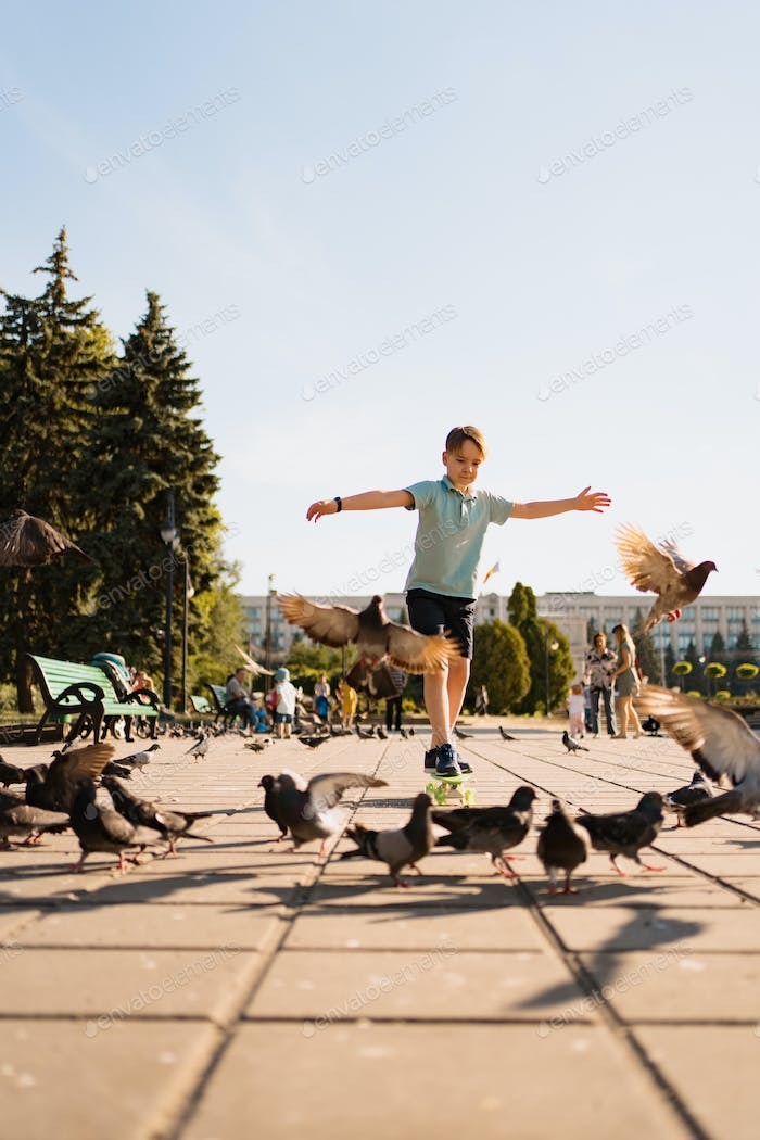 A boy riding a skate in the park with pigeons