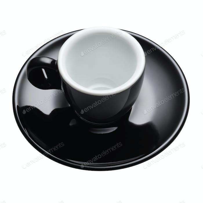 Empty black coffee mug for espresso isolated