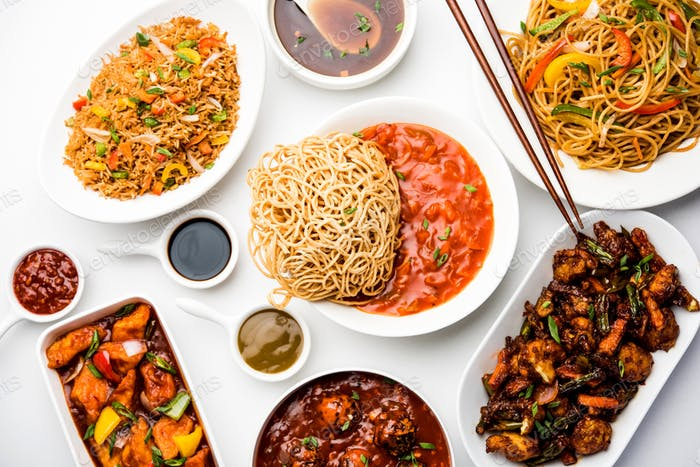 Assorted Indo-chinese vegetarian dishes in group