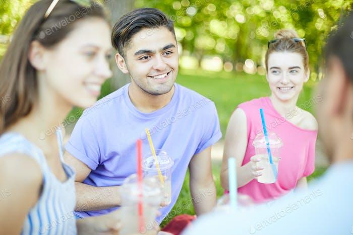 Talking at picnic