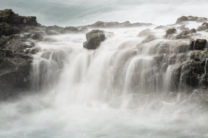 Waterfall And Lava Coastline Long Exposure, La Palma