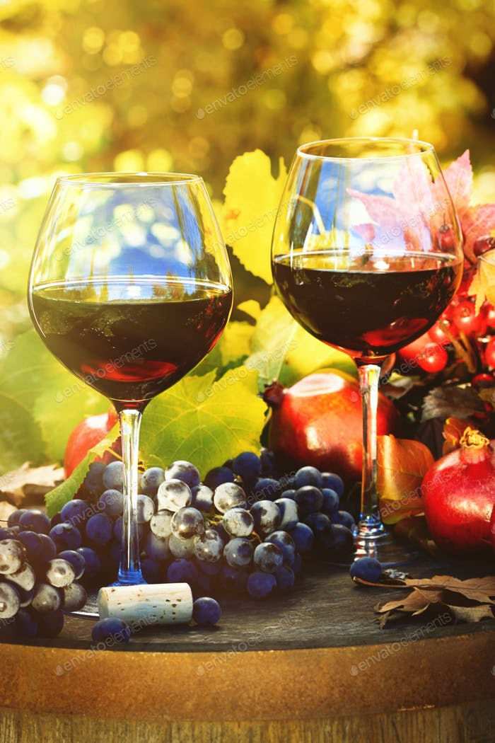 Fall scene with glasses of red wine and grapes