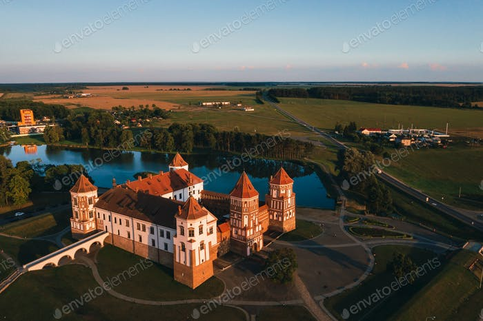 Mir castle with spires near the lake top view in Belarus near the city of Mir