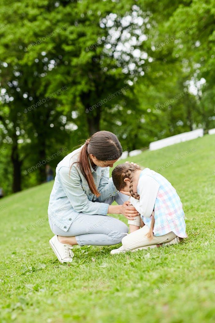 Comforting daughter