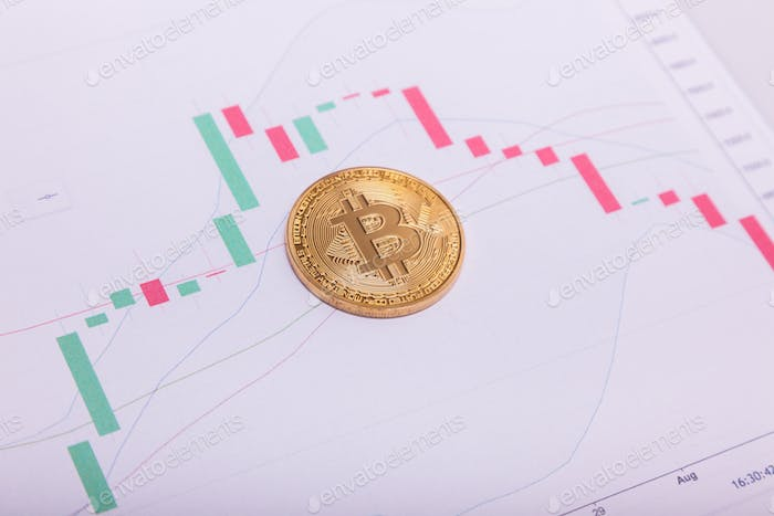Bitcoin btc crypto currency coin over a trading chart