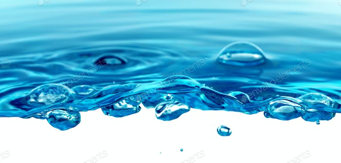Abstract Water bubble drops splash. Blue color nature background.