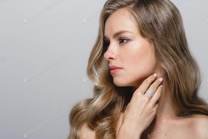 Beautiful female Curly blond hair woman beauty portrait
