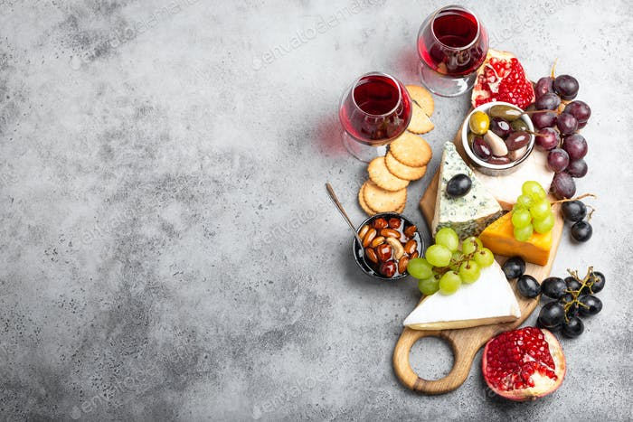 Selection of cheese and appetizers