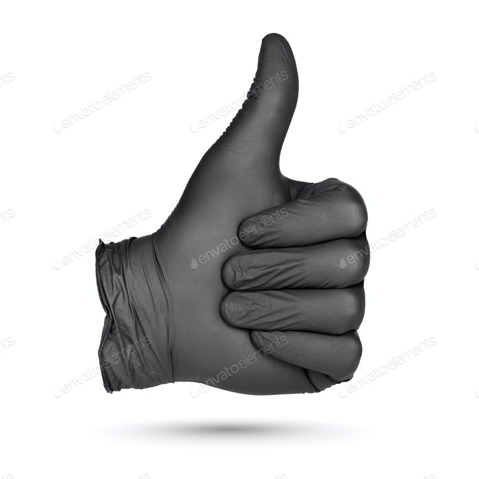 Thumbs-up sign. Hand in black nitrile glove isolated.