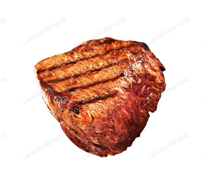 Grilled bbq steak on white background