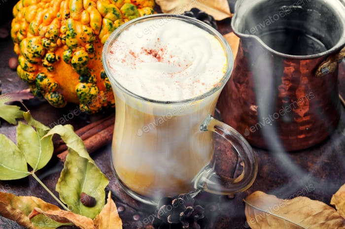 Latte autumn hot drink