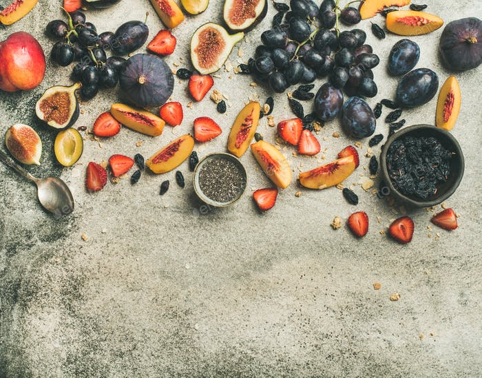 Greek yogurt, fresh fruit and chia seeds bowl, horizontal composition