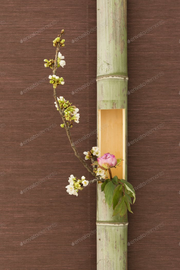 Japanese flower arrangement in bamboo