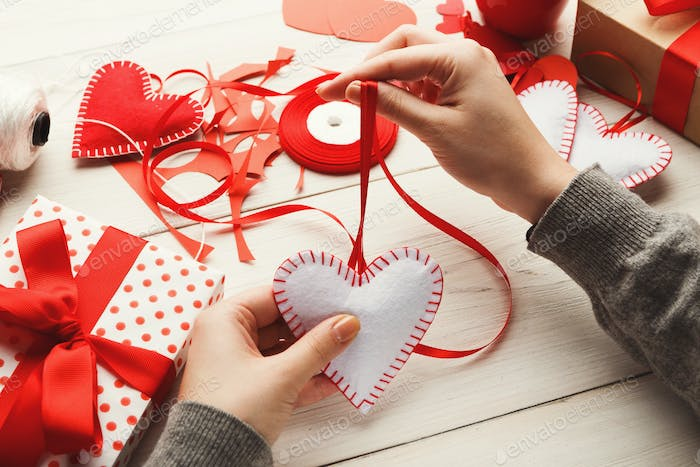 Valentine day handmade gifts background