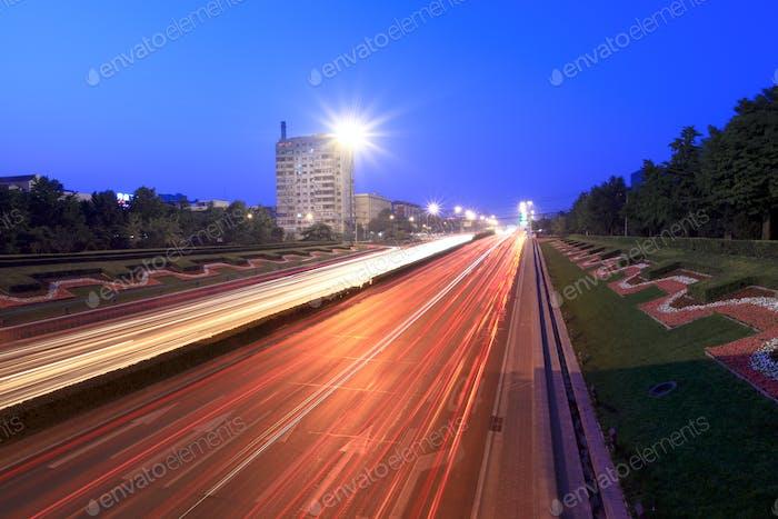 beijing traffic at dusk