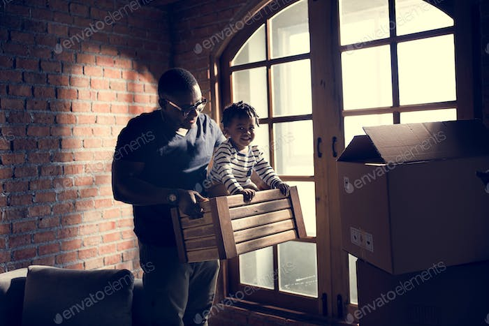 father and child spend time together