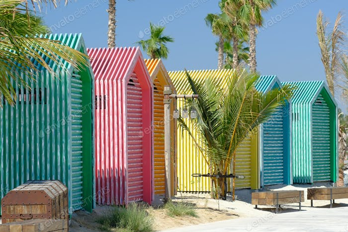 Colored beach bathing cabins in Dubai