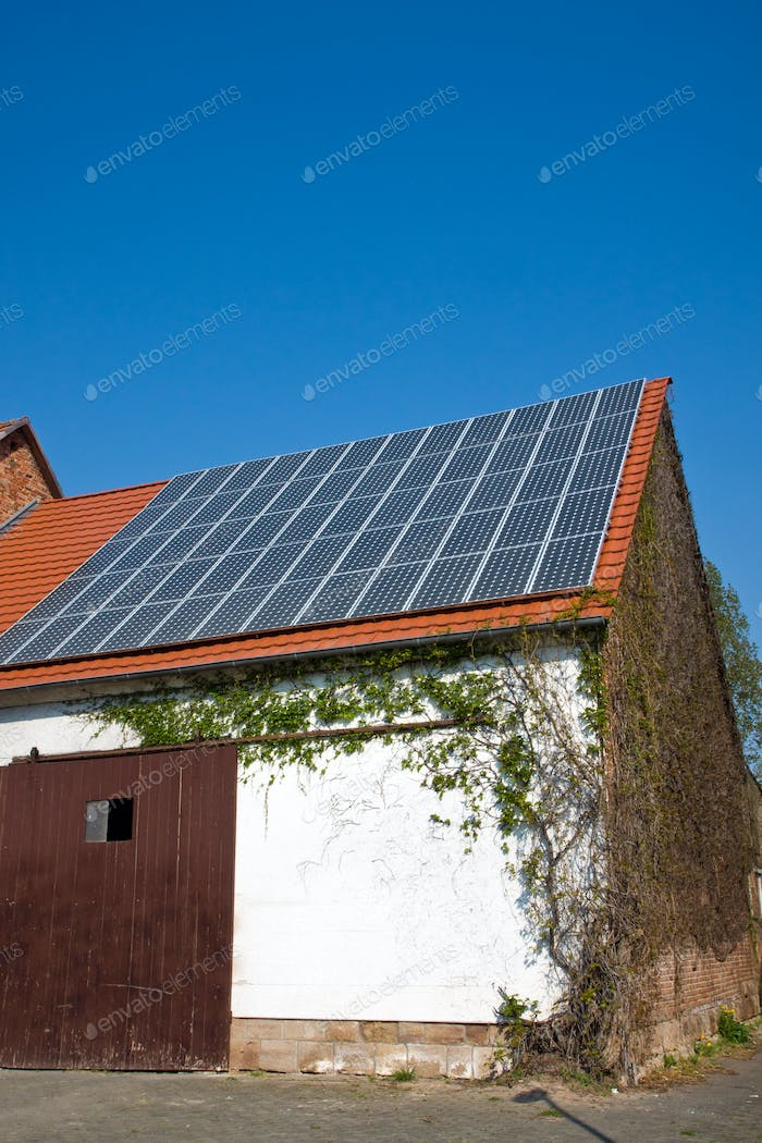 Old barn with solar cells