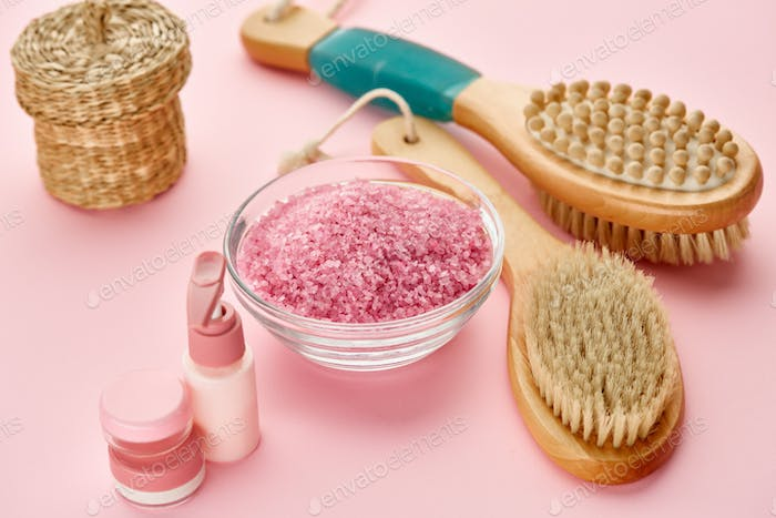 Body care products, macro view, pink background