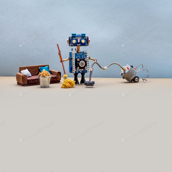 Domestic robotic cleaning service concept.
