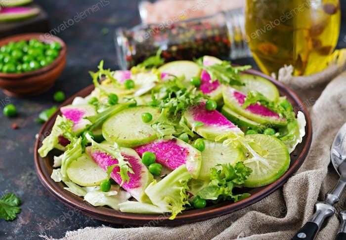 Salad from radish, cucumber and lettuce leaves. Vegan food. Dietary menu.
