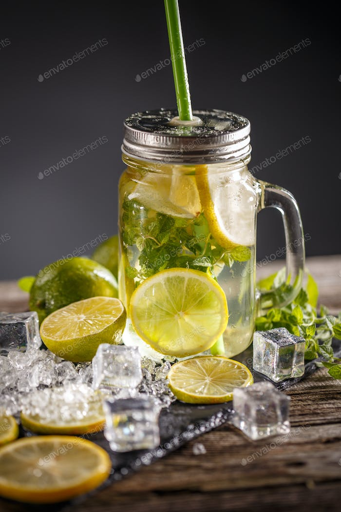 Lemonade in the glass jar