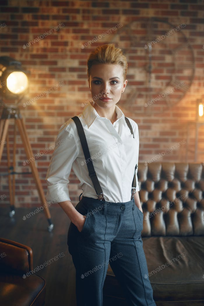 Elegance business woman in strict clothes, retro