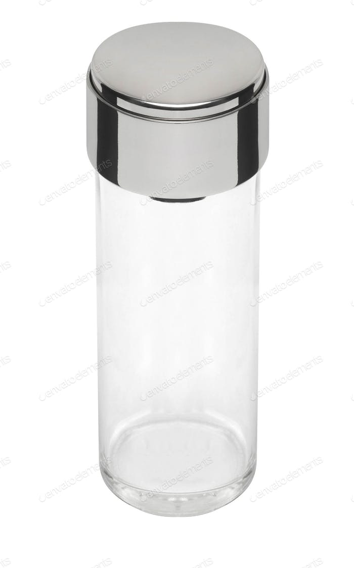 Empty transparent medical container