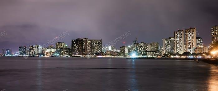 Honolulu Hawaii Night Waikiki Skyline Oahu Island
