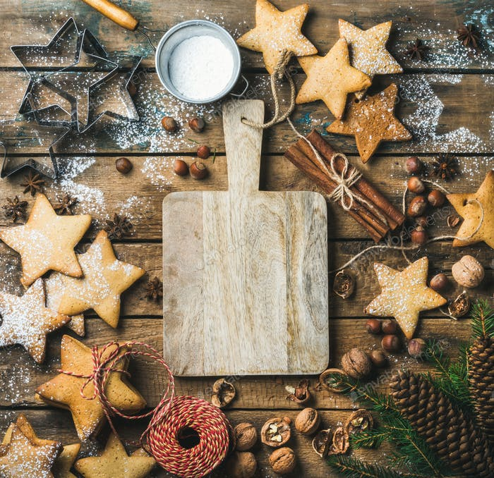 Christmas, New Year background with serving wooden board in center
