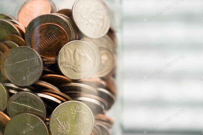 Dólar Americano Monedas en tarro centavos centavos centavos centavos Dimes