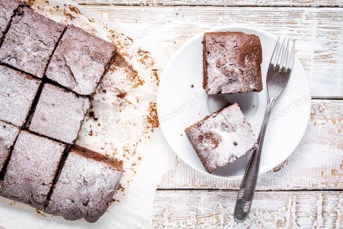 homemade chocolate brownie dessert pieces