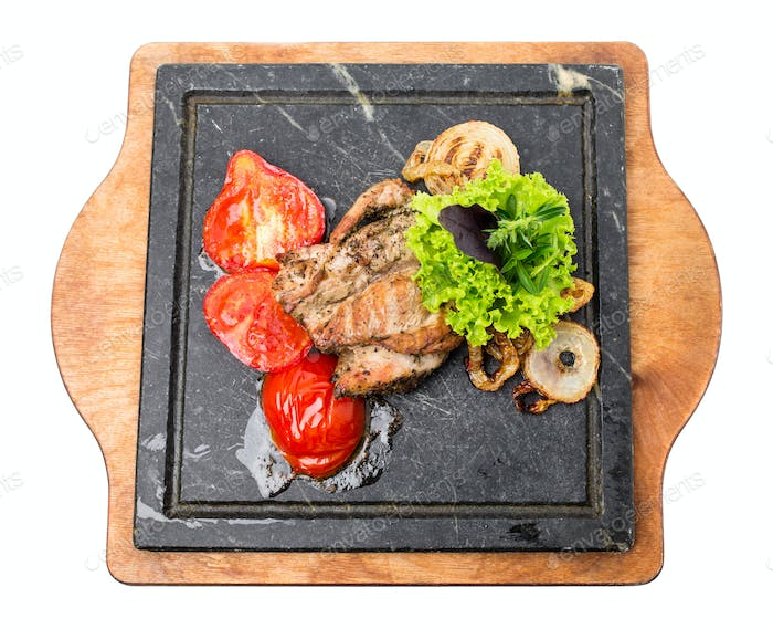 Grilled pork fillet with delicious vegetables.
