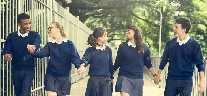 Friend Holding Hand Teenager Student Diverse Concept