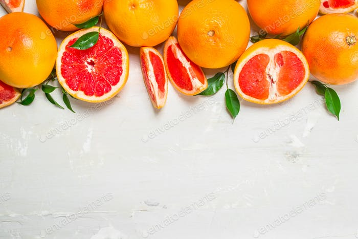 Juicy grapefruit with leaves.