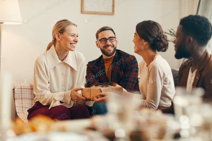 Happy Woman Receiving Present