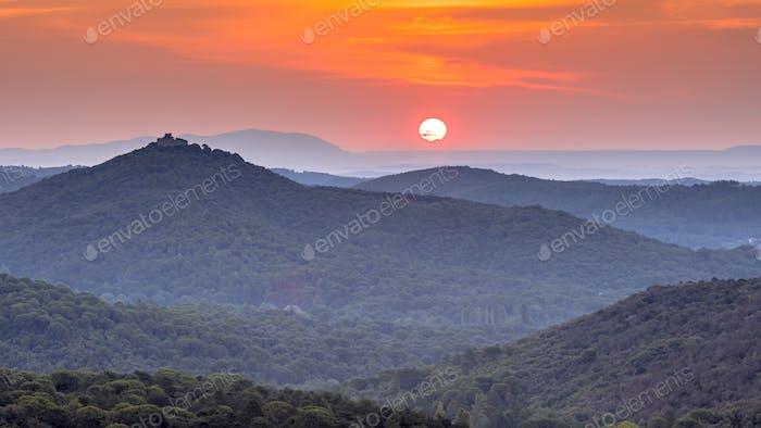 Orange Sunrise over Cevennes national park