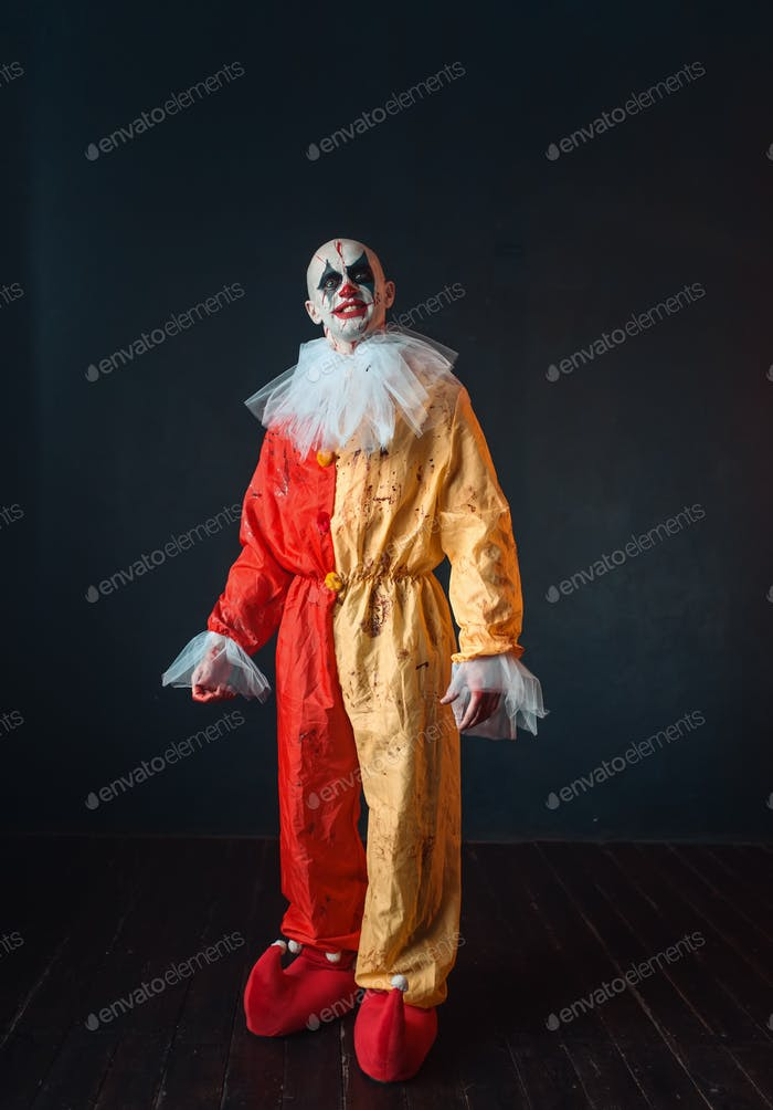 Mad bloody clown with makeup in carnival costume