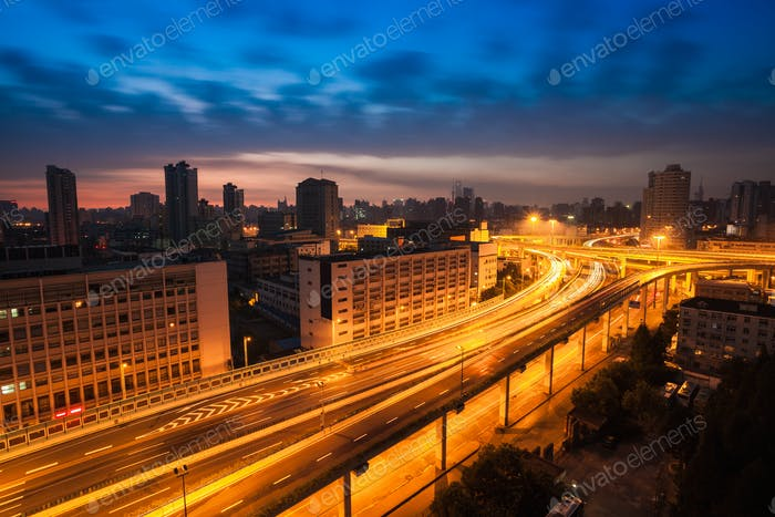 elevated road at dawn