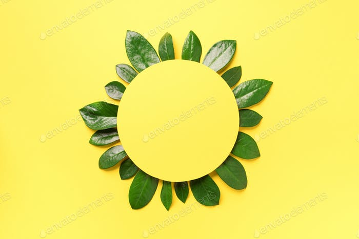 Spring green leaves pattern on yellow background. Creative layout. Top view. Flat lay
