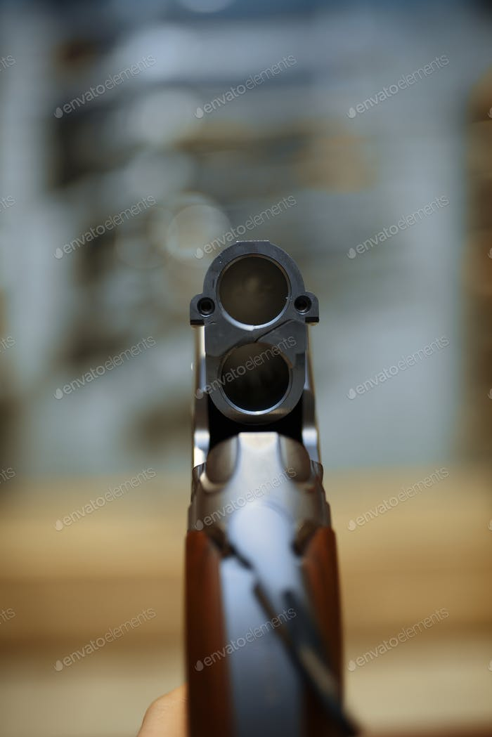 Rifle in gun shop, closeup view through the barrel
