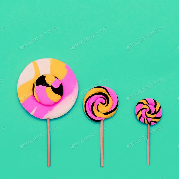 Candy Lolipop Set Sweet Fashion art. Flatlay Design