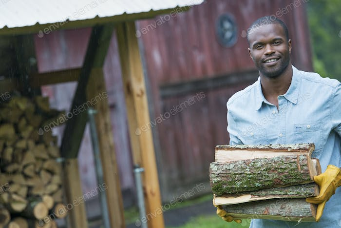 A young man carrying a pile of logs in from the logstore. Farm life.