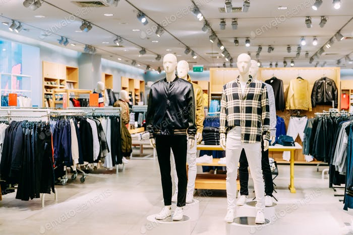 Mannequins Dressed In Male Man Casual Clothes And Clothes On She