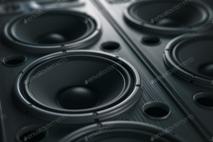 Multimedia  acoustic sound speaker system. Music close up black