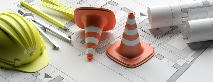 Residential building blueprint plans, banner. 3d illustration