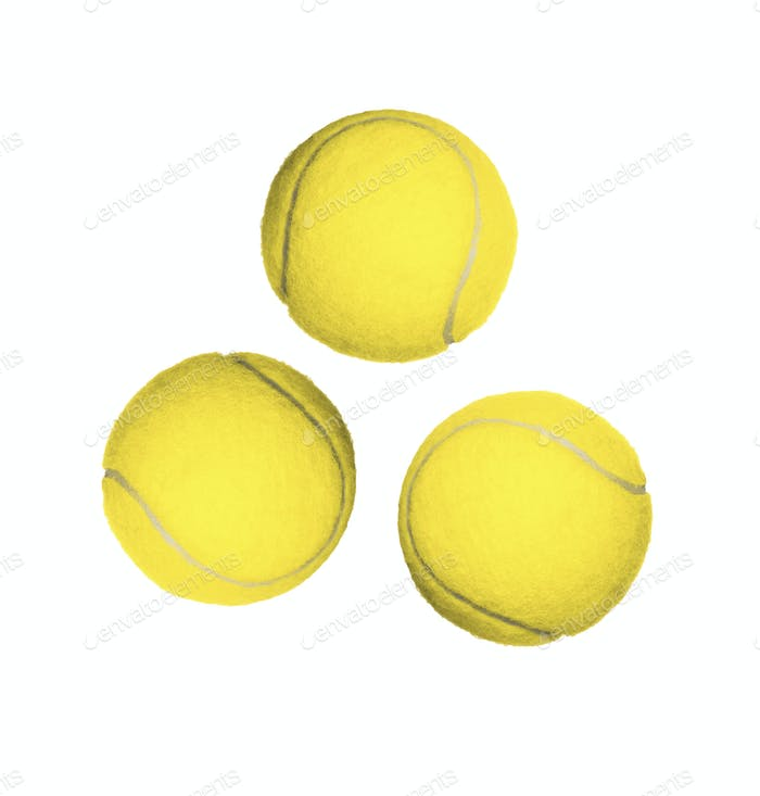 Three tennis balls isolated