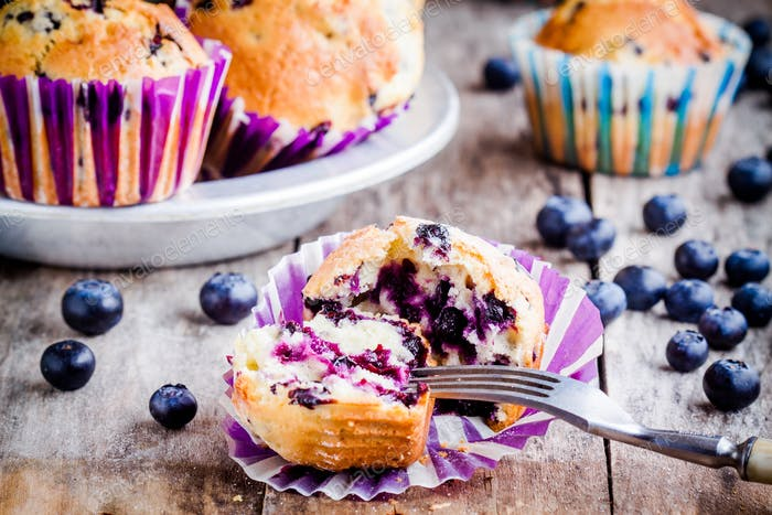 homemade muffins with blueberries closeup