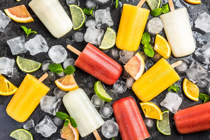 Fresh fruit juice ice lolly pops popsicles
